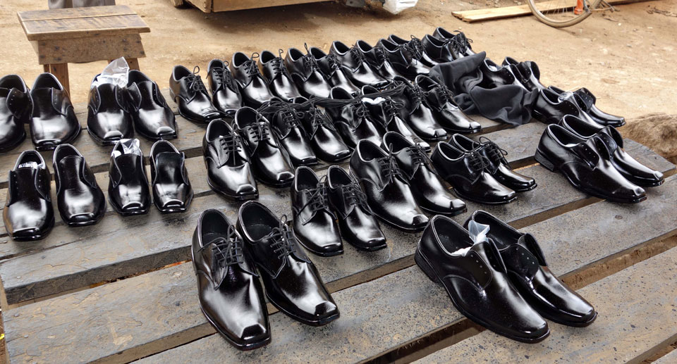 Some of the shoes made by George's shop